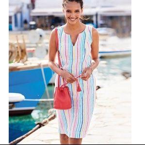 Boden Nathalie Linen Rainbow Stripe Dress 8